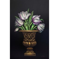 White Parrot Tulips in Gold Urn